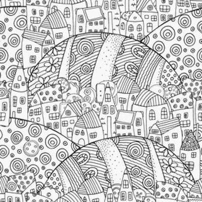 Towns Among Hills Coloring Art