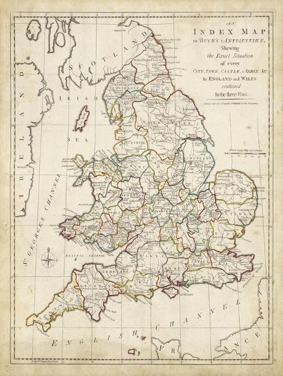 Map Of England Castles.Towns Castles Abbey S In England Wales Art Print By Art Com
