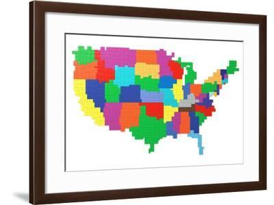 Toy Bricks American Map-nmcandre-Framed Art Print