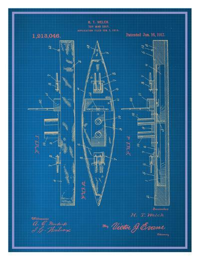Toy Warship Blueprint--Art Print