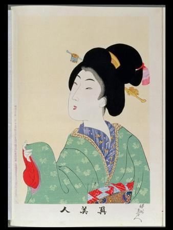 Shin Bijin (True Beauties) Depicting a Woman in a Green Floral Kimono, from a Series of 36,…