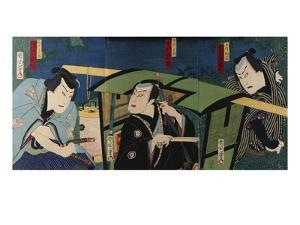 An Oban Triptych Depicting a Nocturnal Scene with Three Actors before a Pal by Toyohara Kunichika