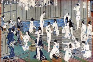 Bath House Scene, a Print by Toyohara Kunichika, 19th Century by Toyohara Kunichika