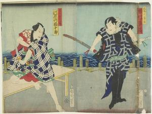 Ichimura Kakitsu I as Chokichi, Kawarasaki Gonjuro I as a Gallant, January 1866 by Toyohara Kunichika