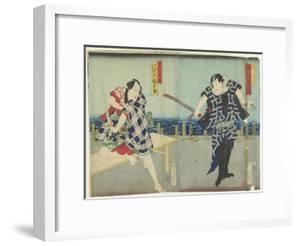 Ichimura Kakitsu I as Chokichi, Kawarasaki Gonjuro I as a Gallant, January 1866 by Toyohara Kunichika