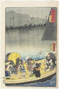 Returning Sails at Yabase in Zeze, April 1863 by Toyohara Kunichika