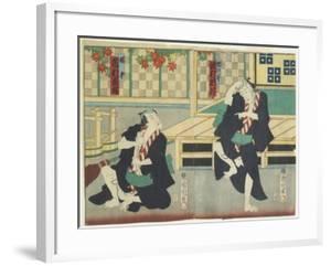 Sawamura Tossho II as Kinohei and Ichimura Kakitsu I as Kippei, May 1865 by Toyohara Kunichika