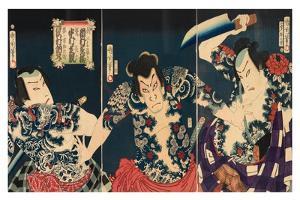 The Kabuki Actors, 1868 by Toyohara Kunichika