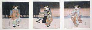 Geisha at Night Triptych, 1818-30 by Toyokuni II