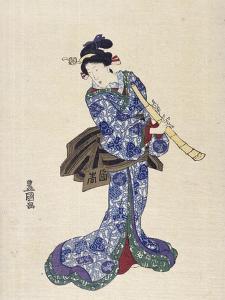 Shakuhachi by Toyokuni