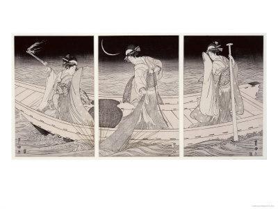 Three Women on a Boat Fishing by Lamplight
