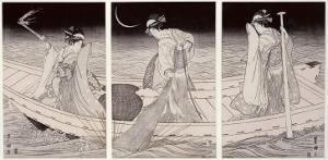Three Women on a Boat Fishing by Lamplight by Toyokuni
