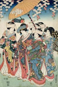 Young Woman with Five Attendants, 1850 by Toyokuni