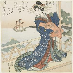 Courtesan Looking at a Foreign Ship, 1818-1844 by Toyota Hokkei
