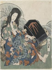 Mountain Witch Holding a Hachet by Toyota Hokkei