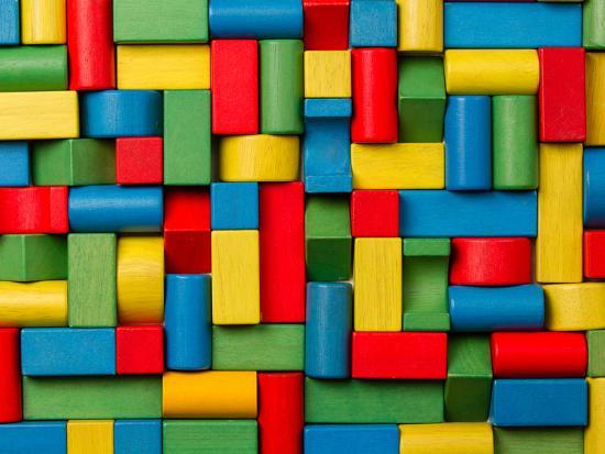 Toys Blocks, Multicolor Wooden Bricks, Group of Colorful Building Game  Pieces Photographic Print by Vladimirs | Art com