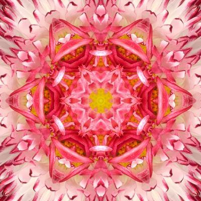 Red Mandala Concentric Flower Center Kaleidoscope