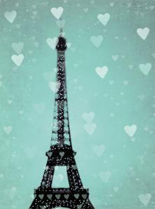 Teal Hearts Over Paris 2 by Tracey Telik