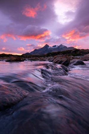 Sunset at Sligachan Bridge, Isle of Skye Scotland UK