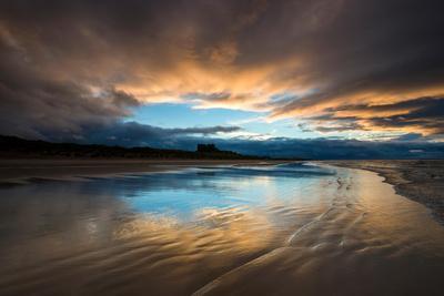 Sunset on the Beach at Bamburgh, Northumberland England UK