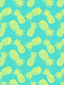 Pineapple Pattern Turquoise And Lemon by Tracie Andrews