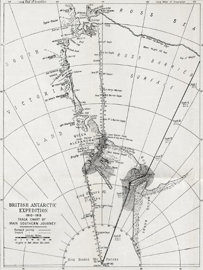Track Chart of the Main Southern Journey of Robert Falcon Scott's Terra Nova Expedition--Giclee Print
