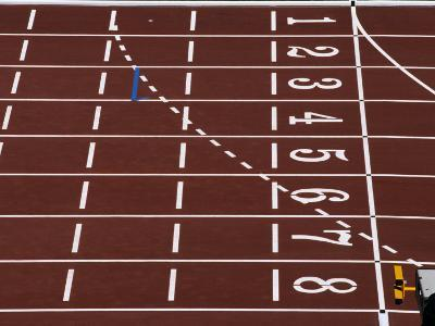 Track Lane Numbers at the Finish Line-Paul Sutton-Photographic Print