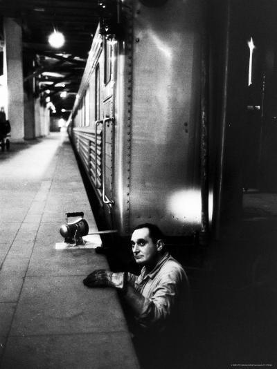 Track Man on New York New Haven Line in Grand Central Station-Alfred Eisenstaedt-Photographic Print