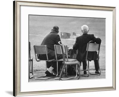 Track Officials Watching an Olympics' Race-Howard Sochurek-Framed Photographic Print