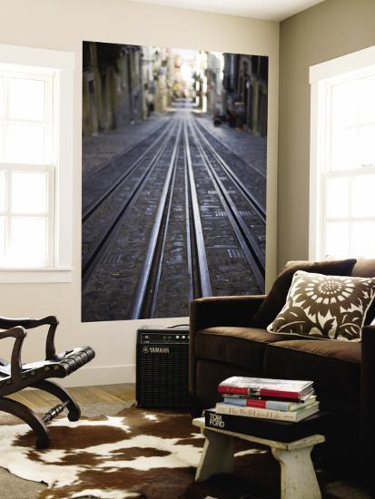 Tracks of Elevador Da Bica Funicular Railway-Holger Leue-Wall Mural
