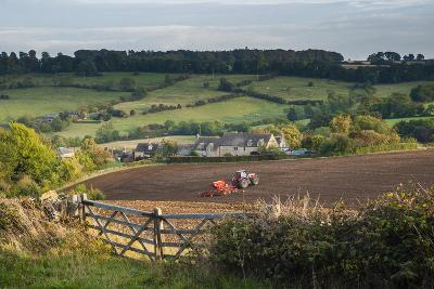 Tractor Ploughing Fields in Blockley, the Cotswolds, Gloucestershire, England-Matthew Williams-Ellis-Photographic Print
