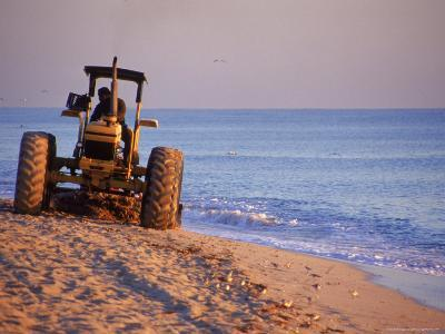Tractor Plowing Beach, Miami Beach, FL-Jeff Greenberg-Photographic Print