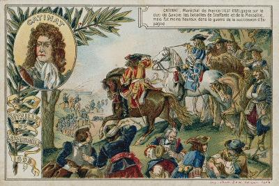 Trade Card with an Image Depicting the Battle of Marsaglia--Giclee Print