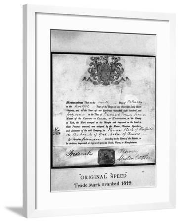 Trademark Certificate, 1849 (1963)-Michael Walters-Framed Photographic Print