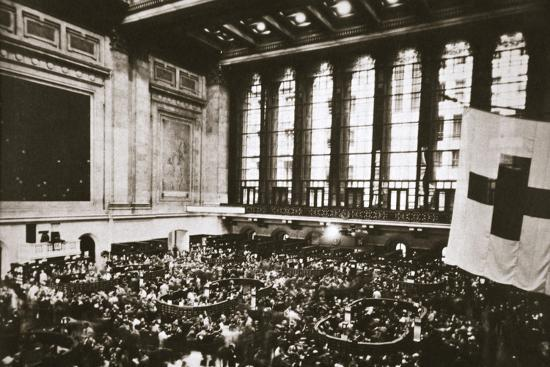 Trading floor of the New York Stock Exchange, USA, early 1930s-Unknown-Photographic Print