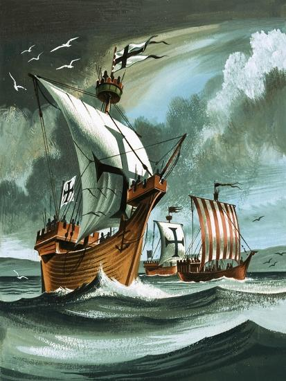 Trading Ships with Teutonic Knights Aboard Closing in on a Pirate Vessal-Dan Escott-Giclee Print