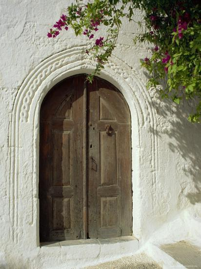 Traditional Arched Doorway, Lindos Town, Rhodes, Dodecanese Islands, Greece-Fraser Hall-Photographic Print