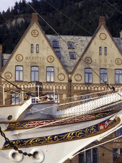 Traditional Architecture and Vessel of Bergen, Norway-Michele Molinari-Photographic Print
