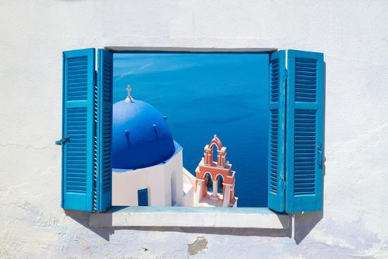 Traditional Architecture of Oia Village on Santorini Island, Greece-Yiannis Papadimitriou-Photographic Print