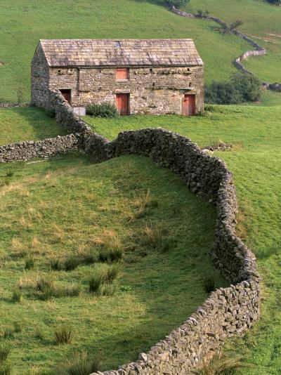 Traditional Barn in Upper Swaledale, Yorkshire Dales National Park, Yorkshire, England, UK-Patrick Dieudonne-Photographic Print