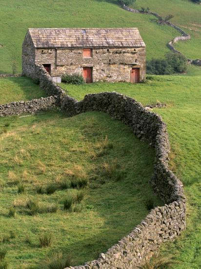Traditional Barn in Upper Swaledale, Yorkshire Dales National Park, Yorkshire, England, UK-Patrick Dieudonne-Photographic Print