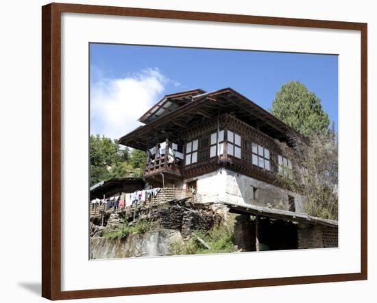 Traditional Bhutanese House in the Bumthang Valley, Bhutan, Asia-Lee Frost-Framed Photographic Print