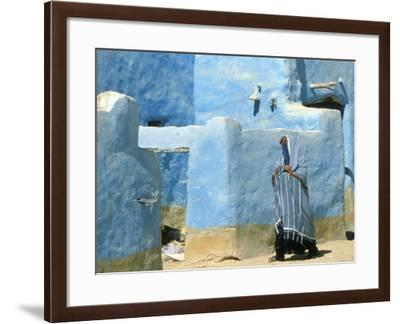 Traditional Blue Woven, Brocade Shawl of Siwa, Egypt-Alexander Nesbitt-Framed Photographic Print