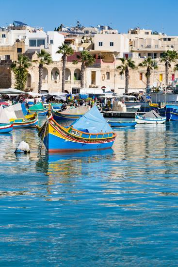 Traditional brightly painted fishing boats in the harbour at Marsaxlokk, Malta, Mediterranean, Euro-Martin Child-Photographic Print