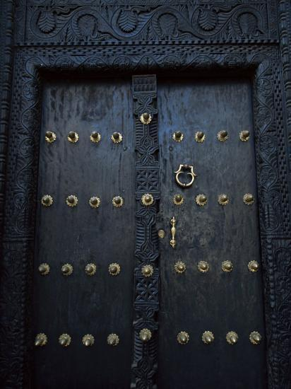 Traditional Carved Wooden Door in Stone Town, Zanzibar, Tanzania, East Africa, Africa-Yadid Levy-Photographic Print