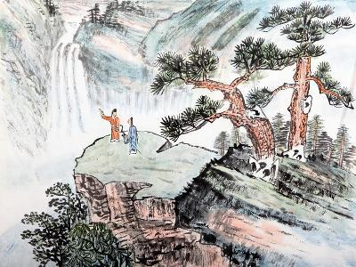 Traditional Chinese Painting , Landscape-aslysun-Art Print