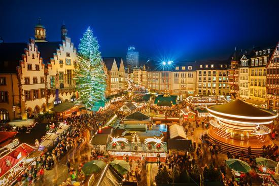 Traditional Christmas Market in the Historic Center of Frankfurt, Germany-S Borisov-Photographic Print