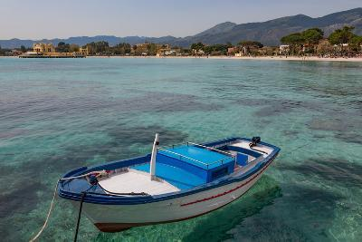 Traditional Colourful Fishing Boat Moored at the Seaside Resort of Mondello, Sicily, Italy-Martin Child-Photographic Print