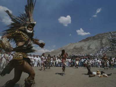 Traditional Dancing at the Pyramid of the Sun on the Spring Equinox-Kenneth Garrett-Photographic Print