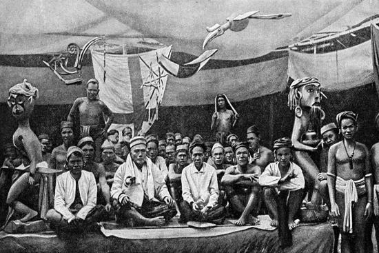 Traditional Enemies Assembled at a Peace Conference in Claudetown, Sarawak, C1899-Charles Hose-Giclee Print